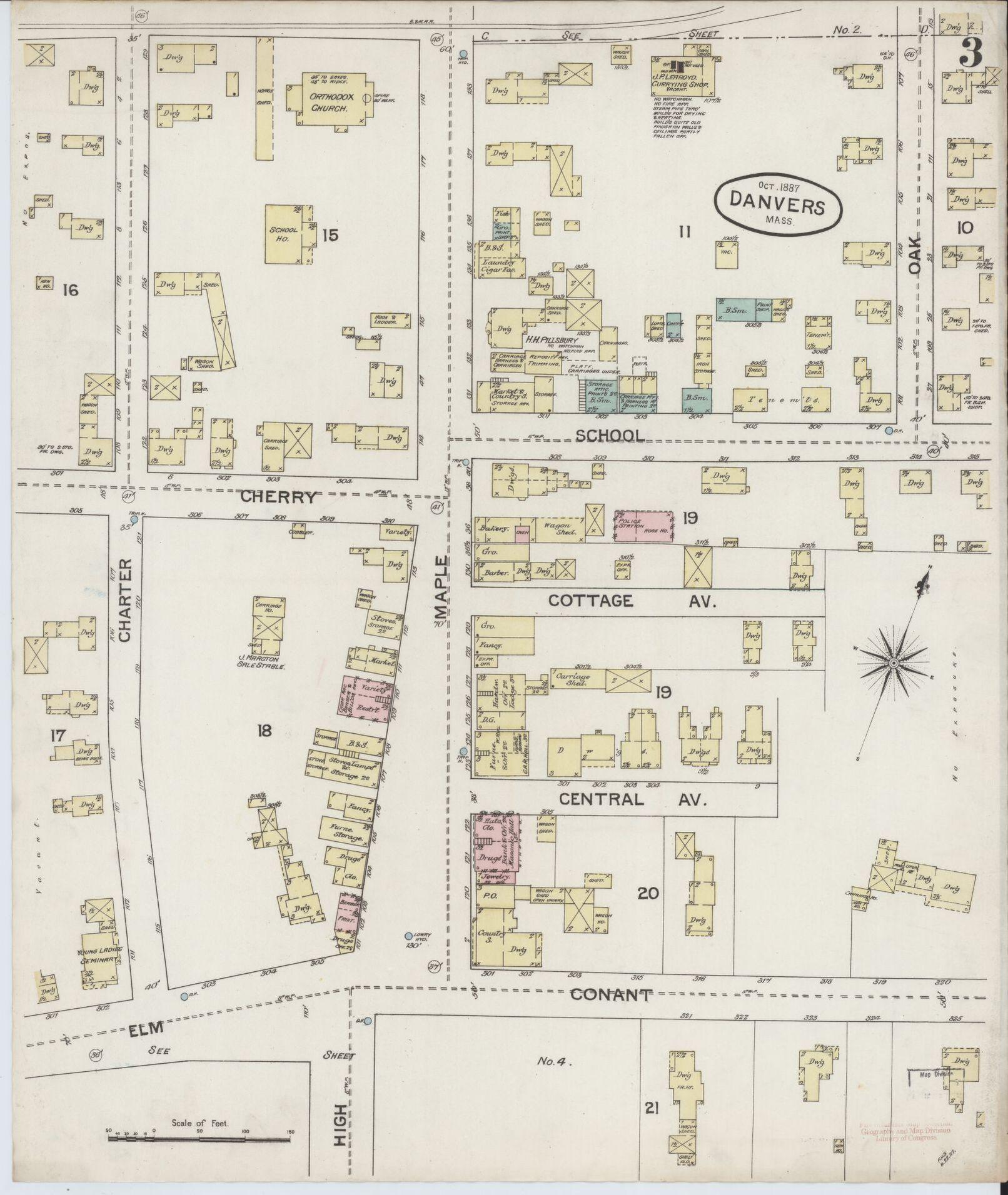 1887 Map, Danvers Square