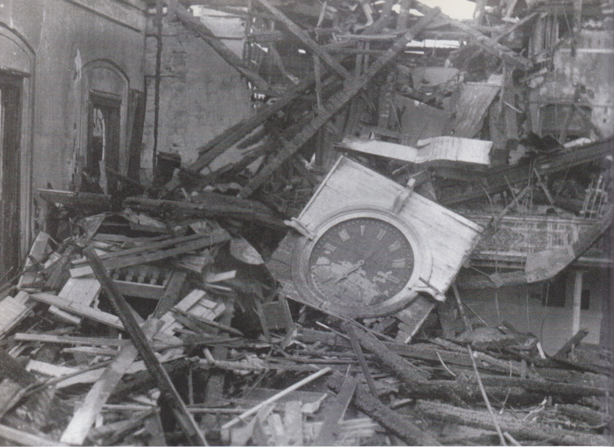Maple St Church Clock and Rubble (1)